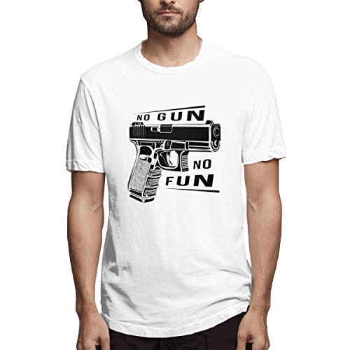 Tactic Pistol Glock Gun 9 Caliber. Pistol Emblem Logo. No Gun No Fun. Men Cool Short-Sleeve T-Shirt White