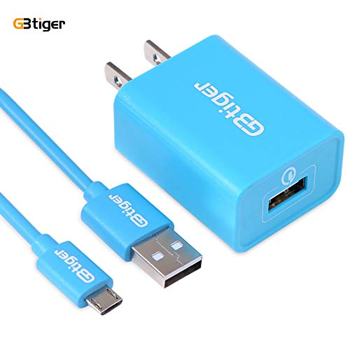 Chargers, GBTIGER USB Wall Charging Adapter Travel Wall Adapter with USB Cables Charge Cord for Samsung, Huawei and More Android Devices (Blue)