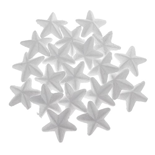 Nrpfell 20 Pieces White Star Shaped Styrofoam Foam Ornaments DIY Craft Party Decoration -