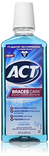 ACT Braces Care Anti-Cavity Fluoride Mouthwash, Clean Mint, 18 Ounce (Best Toothpaste And Mouthwash For Braces)