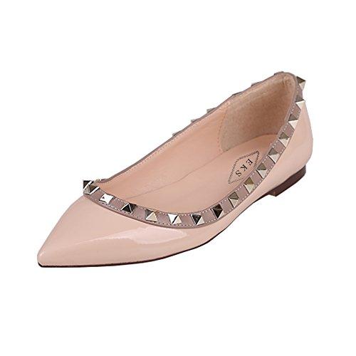 EKS Damen Spitz Flat Heels Spikes Ballerinas Schuhe Wohnungen Nackt