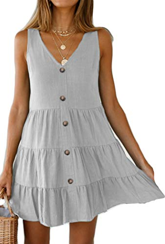 Halife Women's Button Front Dress Summer Sleeveless V-Neck Pleated Swing Dresses Light Gray XL ()