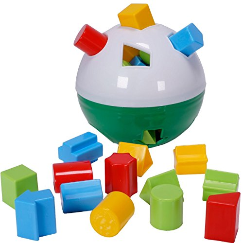 CifToys Educational Shape Sorter Ball Kids Toys | Develop Fine Motor Skills, Have Fun, Learn About Shapes & Colors (Green-White) (Green Shape Sorter)