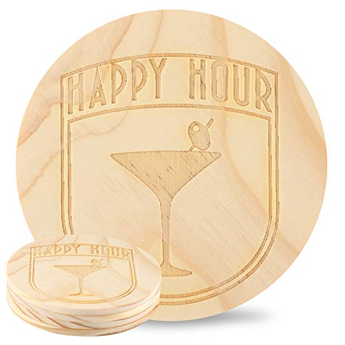 Kevancho Funny Wood Coasters for Drinks Absorbent Set of 4 PCS, Personalized Laser Pattern, Cute Round Table Mug Cup Mats for Car Home Office Bar, Housewarming Gifts(Cocktail Glass)