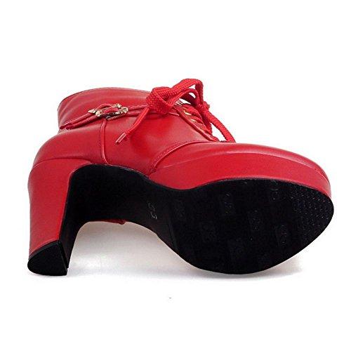 COOLCEPT Damen Mode Blockabsatz Hohe Ferse Kurzschaft Martin Stiefel Con Plateau Red