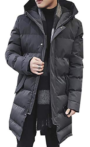 Dark Puffer Men with Jacket Hood Quilted Grey security Removable Coat Winter Thicken fR4avq