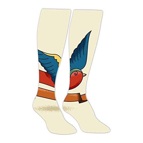 Knee High Stockings Unique Swallows Long Socks Sports Athletic for Man and Women]()