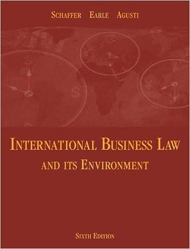 International business law and its environment: richard schaffer.