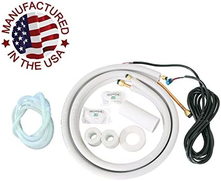 """1/4"""" & 3/8"""" Od Luft Conditioner Mini Split Ductless Installation Linie Satz Kit Copper Pipes Insulated White (16Ft Length)"""