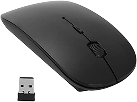 BINGFEI Mini Black USB Mouse 2.4GHz Wireless Optical Gaming Mouse Mice for Computer PC,Black