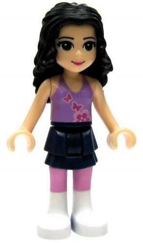 LF4-A5 LEGO Friends LOOSE Mini Figure Emma [Violet Top, Dark Blue Skirt, White Boots] (White Boot Tops)