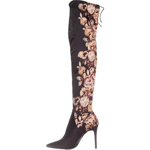 - Jessica Simpson LESSY Over-The-Knee Dress Boot Black Satin Floral 6.5M