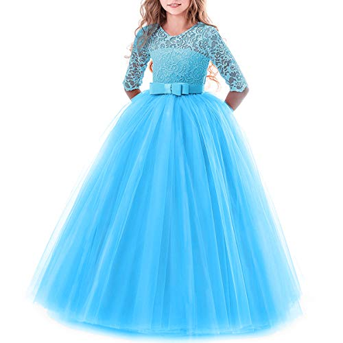 (Toddler Girl's Embroidery Tulle Lace Maxi Flower Girl Wedding Bridesmaid Dress 3/4 Sleeve Long A Line Pageant Formal Prom Dance Evening Gowns Casual Holiday Party Dress Blue)