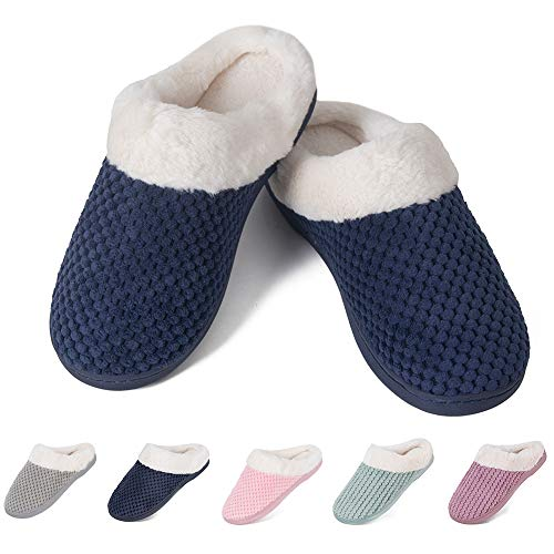 Women's House Shoes Fleece Memory Foam Plush Lining Anti-Slip Cozy Home Slippers Indoor & Outdoor(MT-Navy,36/37EU)