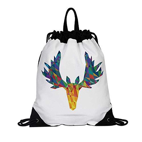 Antlers Decor Canvas Drawstring Bag,Deer Head Modern Design Trophy Geometric Glass Horn Wildlife Art for Travel School,7.4