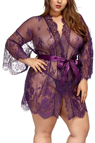TGD Womens Lingerie Lace Plus Size Kimono Robe Mesh Nightgown Dress Sets(Purple,XL)