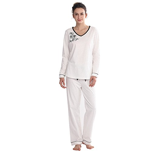 Keyocean Women Pajamas All Cotton Plus Size Long Sleeve Long Pants Soft Pajamas Sets Sleepwear, -