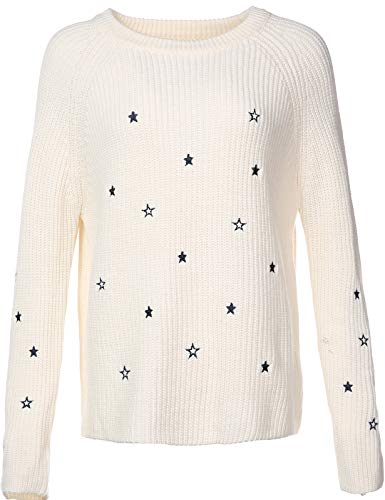 Manche Doux Femme Sweater Mince Pull Longue YJ028 DISSA Blanc Tricot Col Rond gIRcw