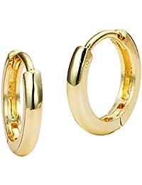 14k Yellow or White Gold Small 1.5mm x 11mm Plain Huggie Children Baby Girls Earrings