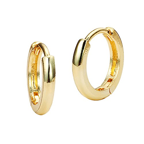 14k Yellow Gold Small 1.5mm x 11mm Plain Huggie Children Baby Girls Hoop Earrings 14k Yellow Gold Baby Earrings