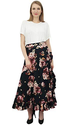 Femmes Auto Floral Phagun Noir Wrap Magiques Ruffled Ceinture Coton Jupe imprim zppTBq7wx
