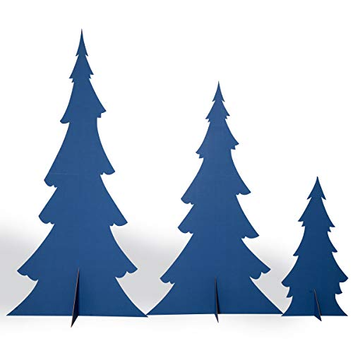 Snow-Trimmed Blue Pine Trees Cardboard Kit, Set of 3, up to 7 ft 1 in x 47 in x 24 in, Assembly -