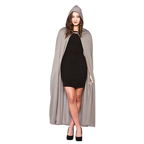 Adult Hooded Cape Grey Fancy Dress Halloween Vampire Super Hero Wizard Witch -