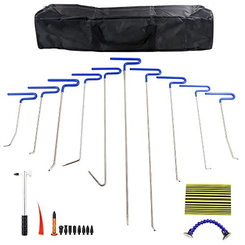 MMPP PDR Tools 10 Pieces of PDR Rods Sets Kit Paintless Dent Removal Tool Kits with PDR Hammer PDR Wedge and Line Board PDR 9 Heads Tap Down Tool Bag Hail Rods Repair Tools Dent Removal of Hail Dents by MMPP (Image #7)