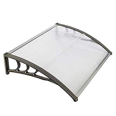 Door Awning Canopy HT-100 x 80 Household Application Door & Window Rain Cover Eaves Canopy 5.0mm Polycarbonate Hollow Sheet & ABS Brackets & Aluminum Fixing Bars, White & Gray : Garden & Outdoor