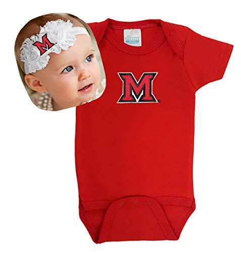 Future Tailgater Miami Ohio Redhawks Baby Onesie and Shabby Bow Headband Set (6 Months/ 14