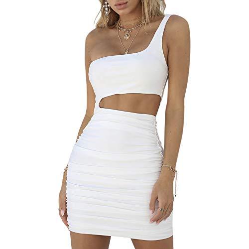 (UPSTONE Women's Sexy one Shoulder Backless Jumpsuits Sleeveless Cutout Club Ruched Bodycon Mini Dress (Sleeveless-White,)