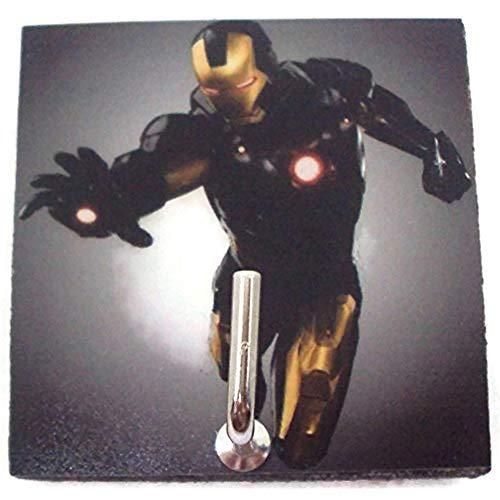 Agility Bathroom Wall Hanger Hat Bag Key Adhesive Wood Hook Vintage Yellow Iron Man's Photo