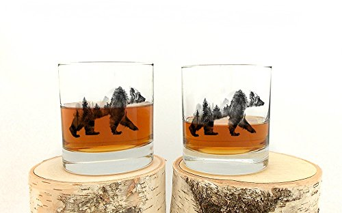 Rock Glasses - Double Exposure Bear - Screen Printed Whiskey Glasses - Set of Two 11oz. -