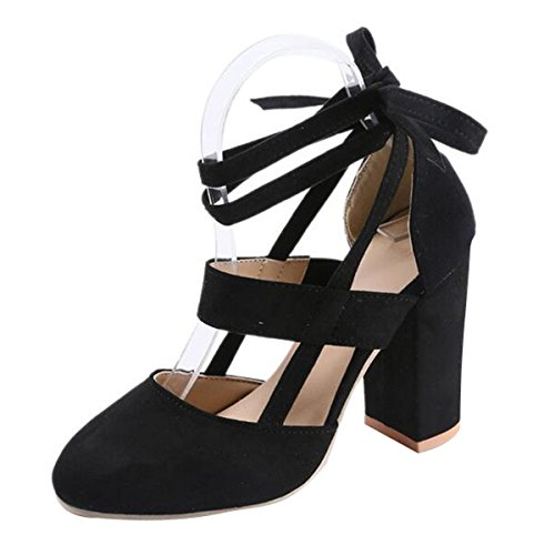 Women High Heel Sandals Closed Toe Pumps Square Heel Shoes Women's Fashion Thick High Heel Pumps Sexy Straps Platform Sandals Black 8 ()