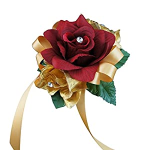 Angel Isabella Wrist Corsage - Gold and Apple Red Artificial Flowers 79