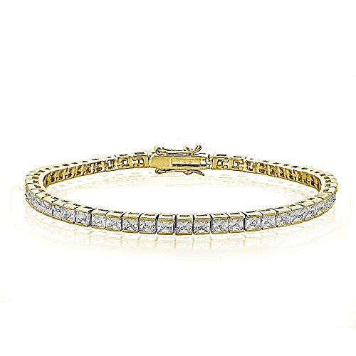 GemStar USA Cubic Zirconia Princess-Cut Channel Set Fashion Tennis Bracelet in Yellow Gold Tone ()