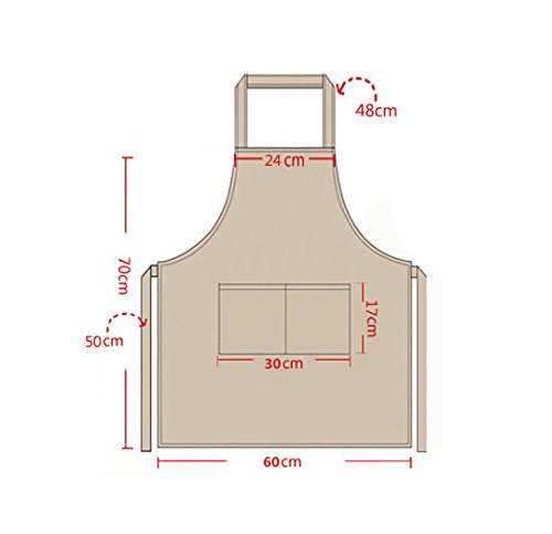 LOYHUANG Total 6PCS Plain Color Bib Apron Adult Unisex 2 Pocket Chef Cooking Baking Kitchen Restaurant Crafting Black by LOYHUANG (Image #2)