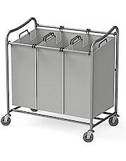 SimpleHouseware Heavy-Duty 3-Bag Laundry Sorter Rolling Cart, Grey