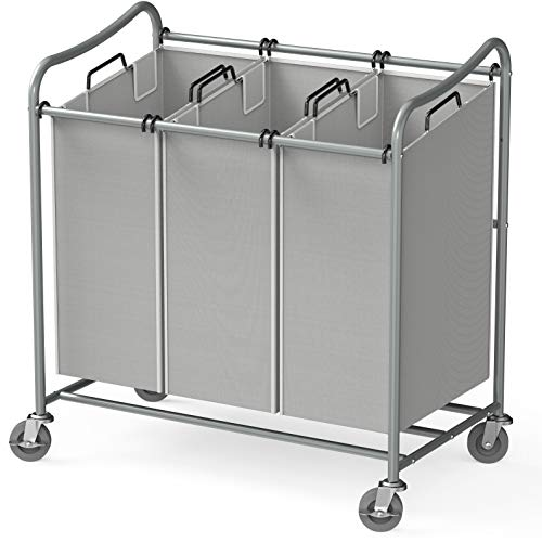 Simple Houseware Heavy-Duty 3-Bag Laundry Sorter Cart, Silver (Bin Laundry Cart)