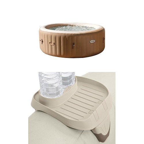 Intex 77in PureSpa Portable Bubble Massage Spa Set and PureSpa Cup Holder, 2 Standard Size Beverage Containers by Intex