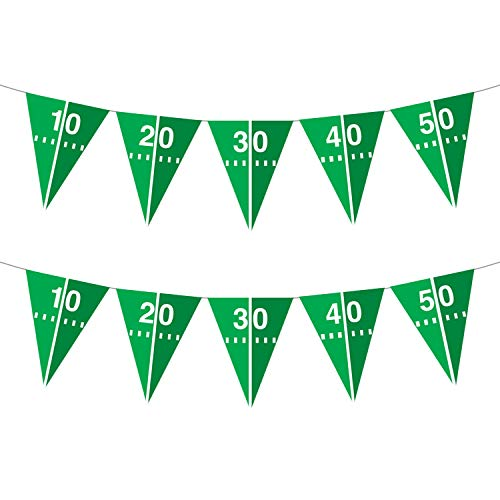 Football Party Decorations - Touchdown Football Field Pennant Banner 8'4