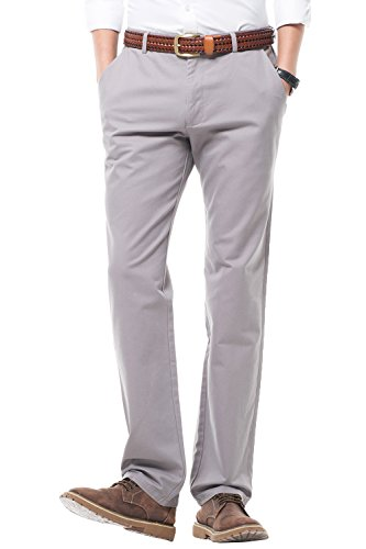 Fit Suit Trousers (Men's Regular Fit Dress Pants 100% Cotton Flat Front Casual Pants Trousers For Men,Size 40 Gray Pants)