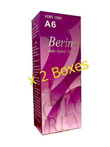 Pack of 2 Sets Berina BERINA PROFESSIONALS Hair Color Cream Permanent Hair Dye Color A6 : Violet 60 G. Super Permanent Fashion Unisex