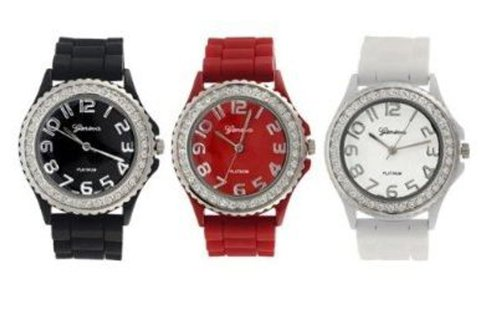 Platinum Silicone Rubber Jelly Gel Band CZ Wrist Watch Set for Men Women Girl Boy Unisex Watches (Black, White, Red)