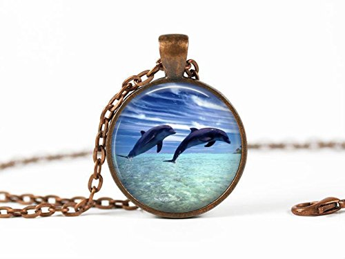 Bronze Necklace,The Leaping Dolphin,Dolphin Sea life necklaces jewellery,exquisite pendant,space pendant,jewelry pendant Necklace,art pendant Necklace