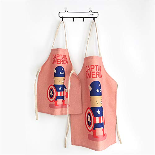 Lovely Cotton and Linen Parent Child Apron, Creative and Anti-fouling Artist Apron & Chef Apron, Pack of 2 (Captain America) ()
