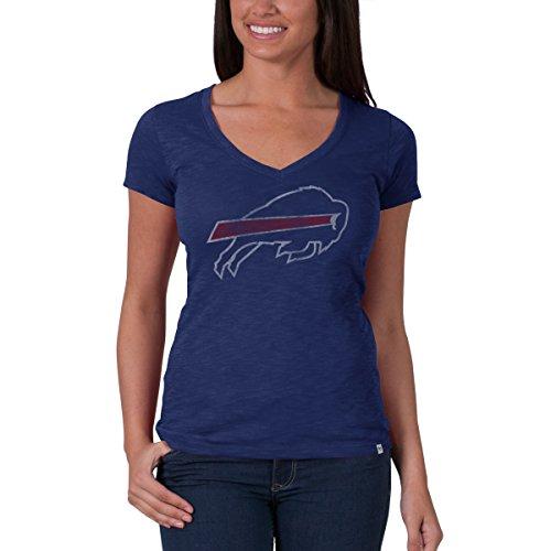 Buffalo Socks Bills Womens ('47 NFL Buffalo Bills Women's Brand V-Neck Scrum Tee, Bleacher Blue, Large)