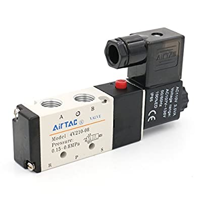 """Baomain 2 Position 5 Way Electric Solenoid Valve Inlet 1/4"""" 4V210-08 AC110V from Baomain"""