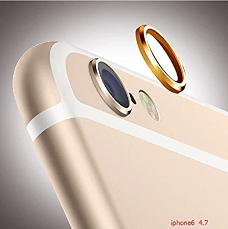 ANKGLEAS Standard Rear Camera Lens Protective Case Cover Ring Installed for iPhone 6 - Copper Gold - 2 Years Warranty