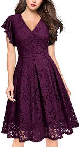 82991dacd MISSMAY Women s Vintage Floral Lace Ruffle V Neck Cocktail Formal Swing  Dress